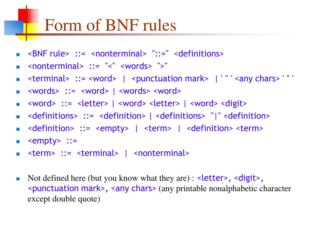 Form of BNF rules