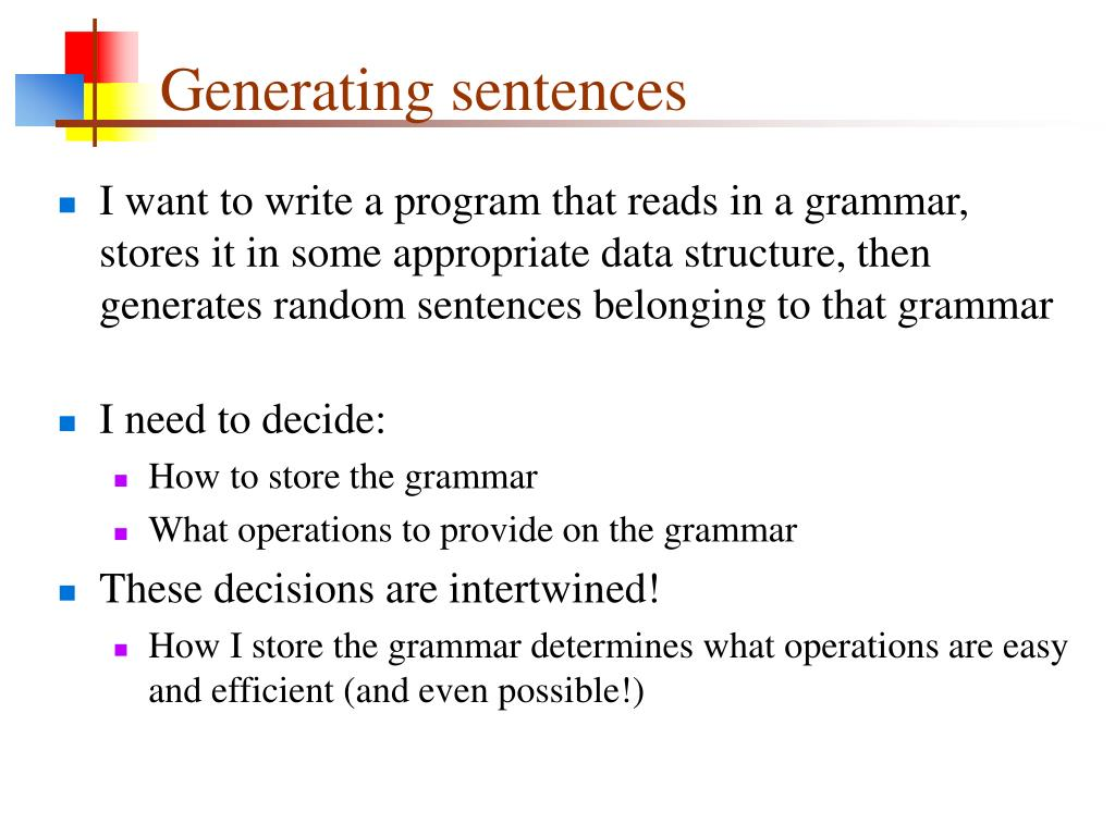 Generating sentences