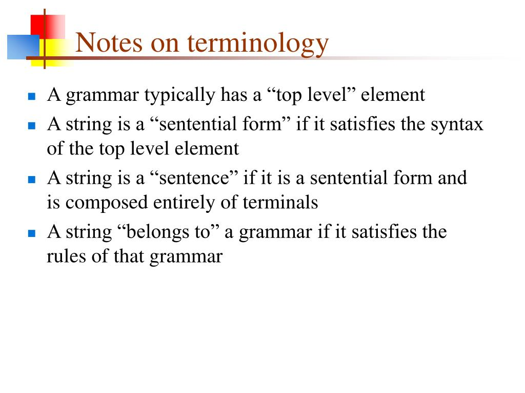 Notes on terminology