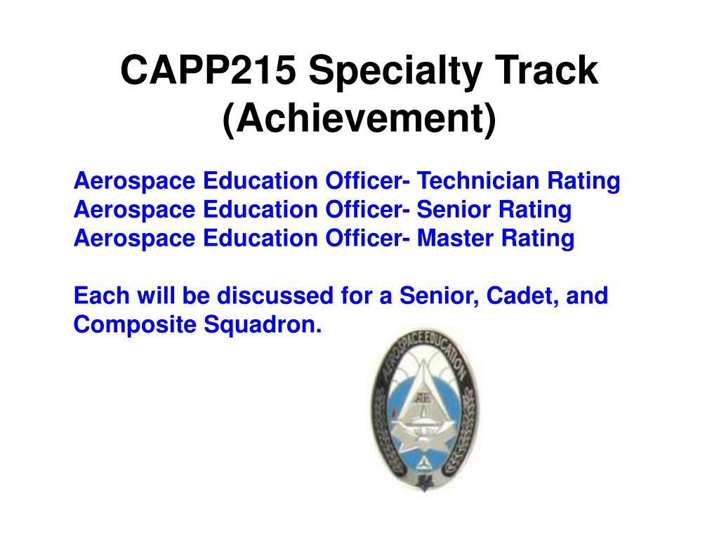 CAPP215 Specialty Track (Achievement)