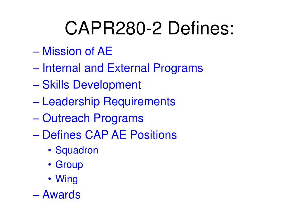 CAPR280-2 Defines: