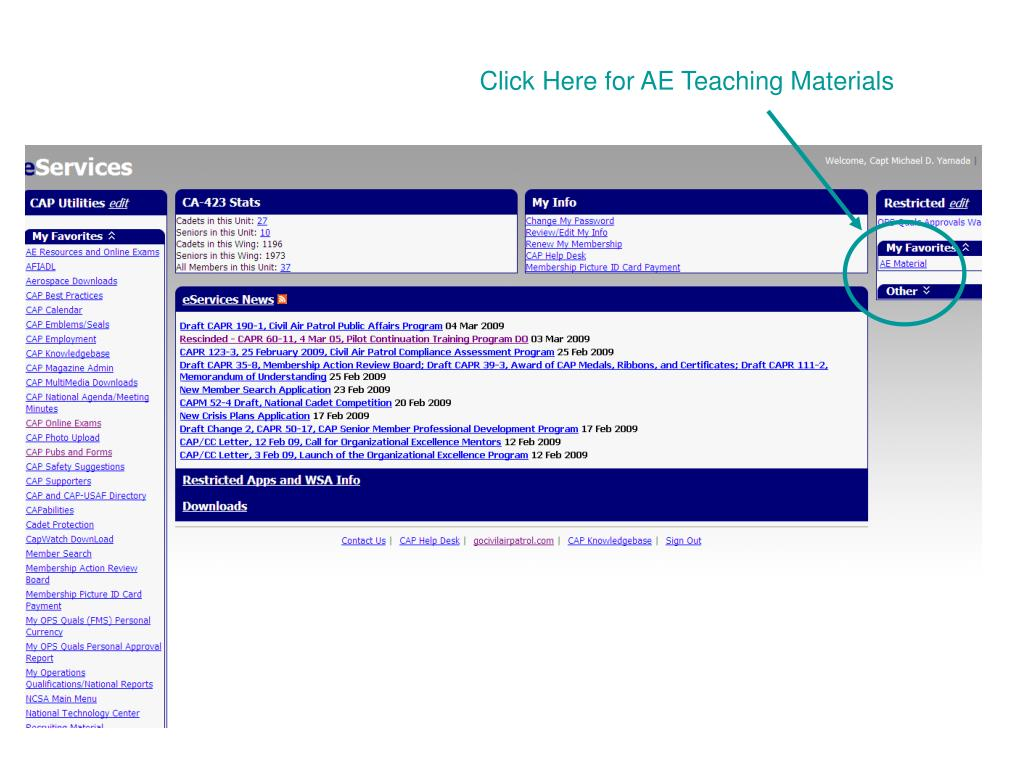 Click Here for AE Teaching Materials