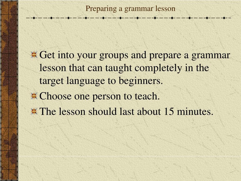 Preparing a grammar lesson