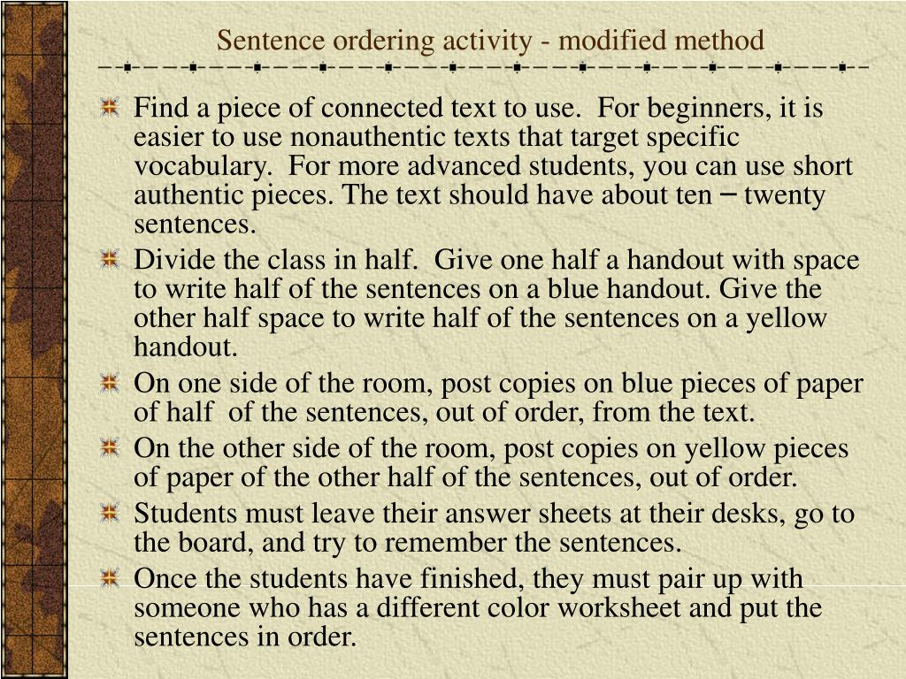 Sentence ordering activity - modified method