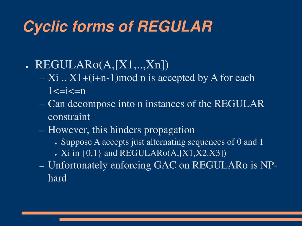 Cyclic forms of REGULAR