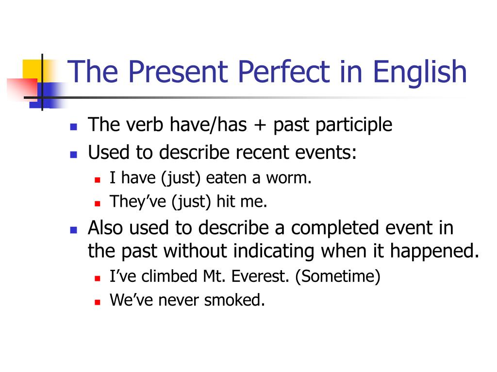 The Present Perfect in English