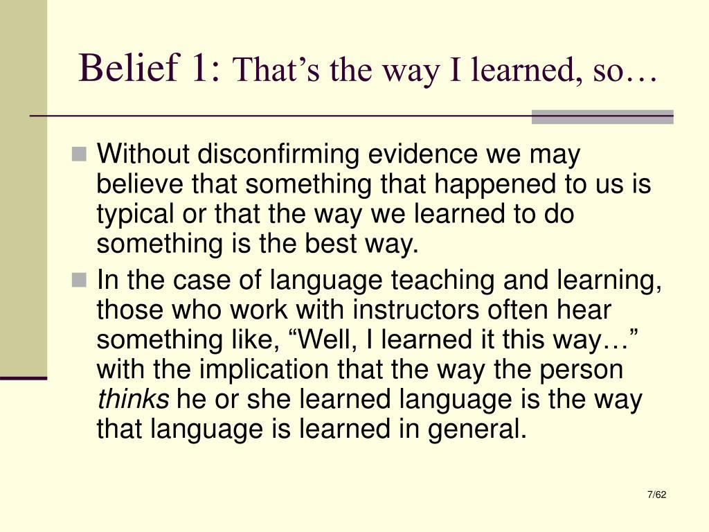 Belief 1: