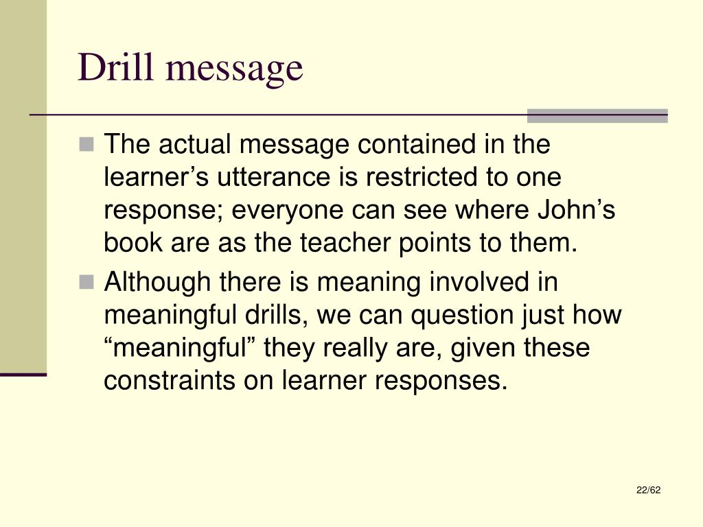 Drill message