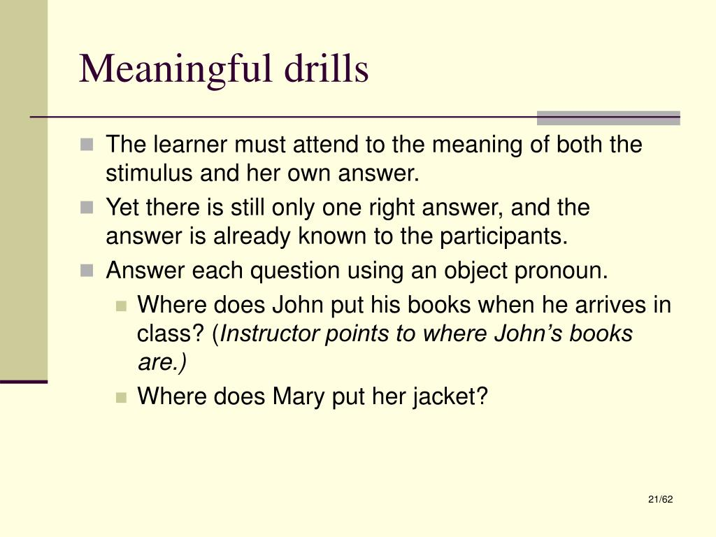Meaningful drills