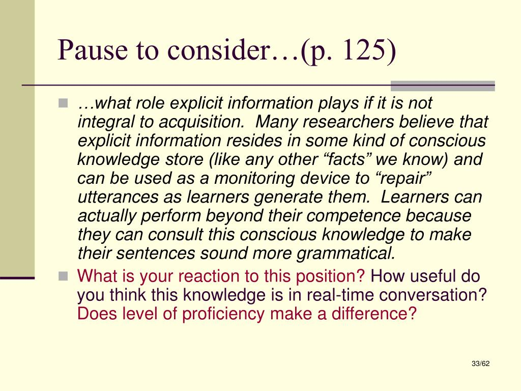 Pause to consider…(p. 125)