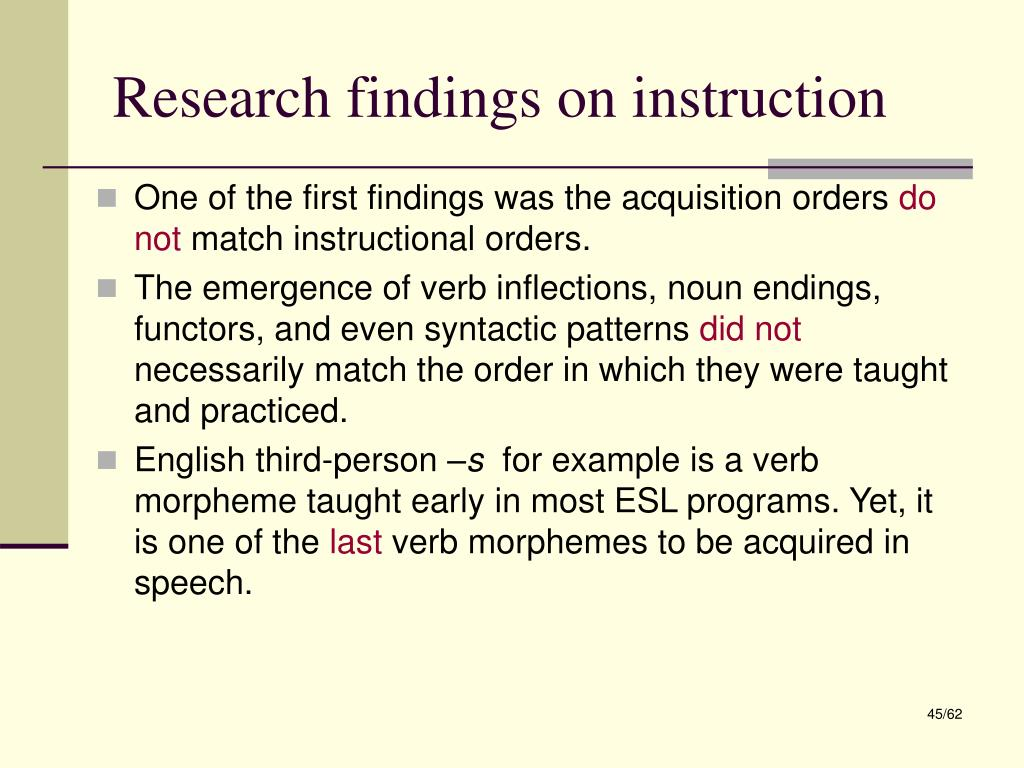 Research findings on instruction