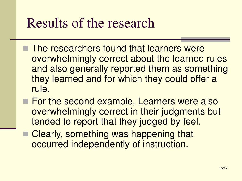 Results of the research