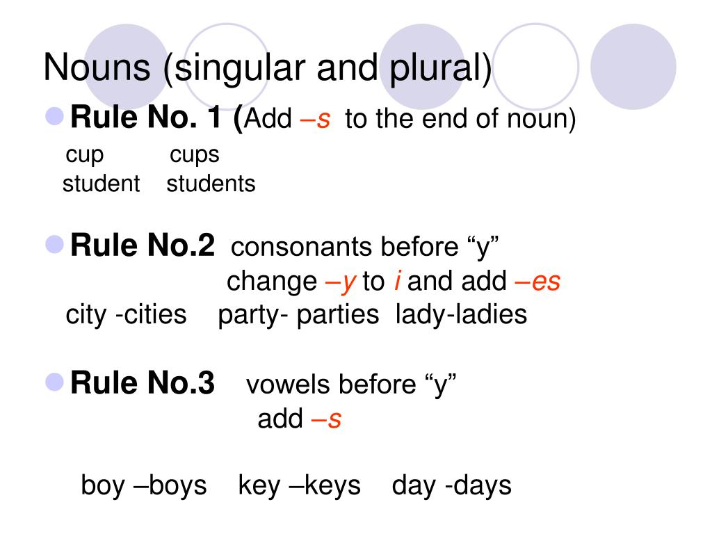 Nouns (singular and plural)