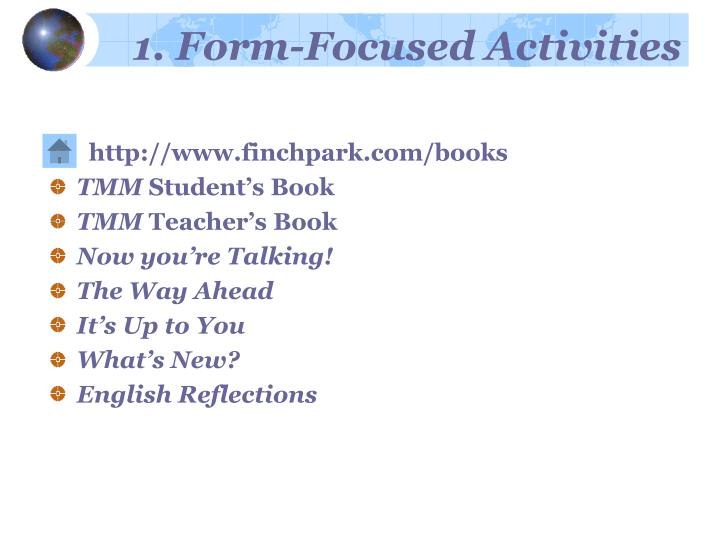 1 form focused activities