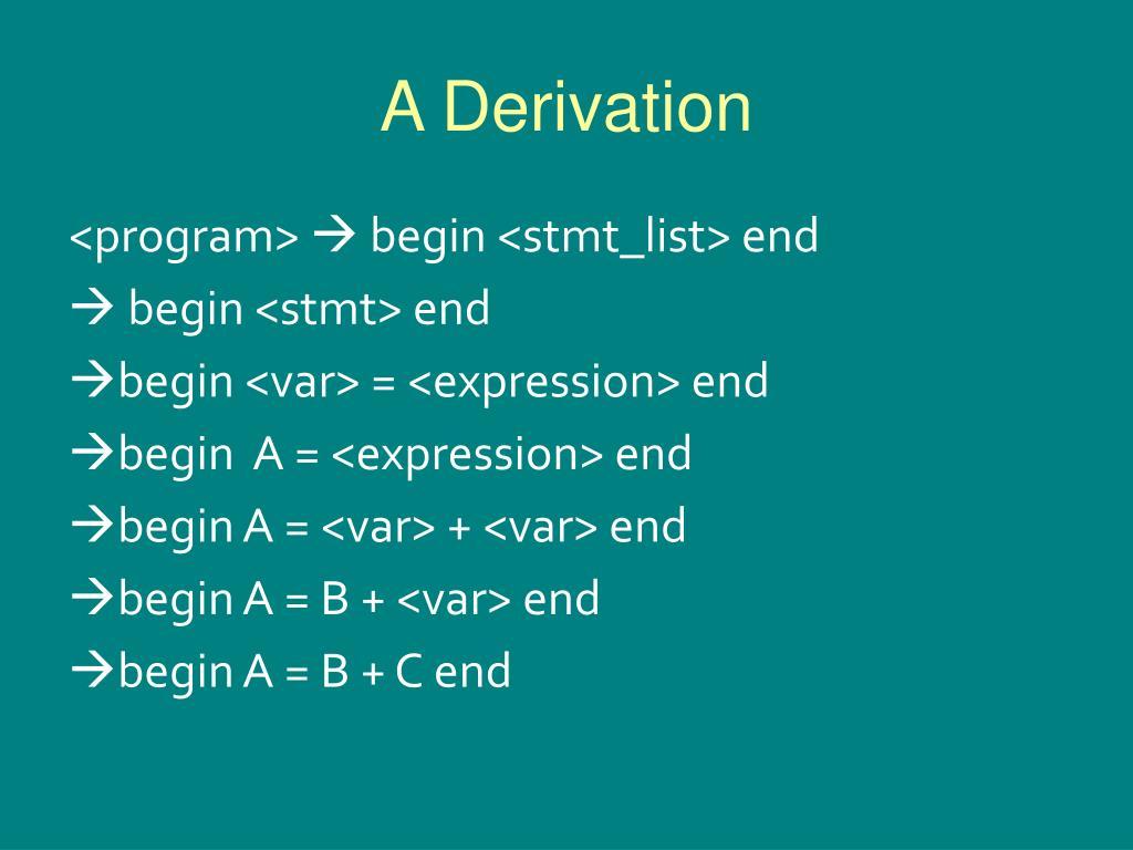 A Derivation