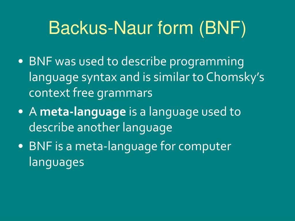 Backus-Naur form (BNF)