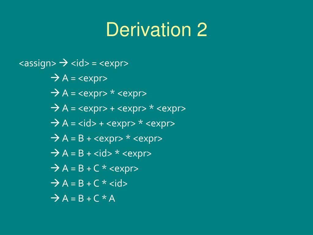 Derivation 2