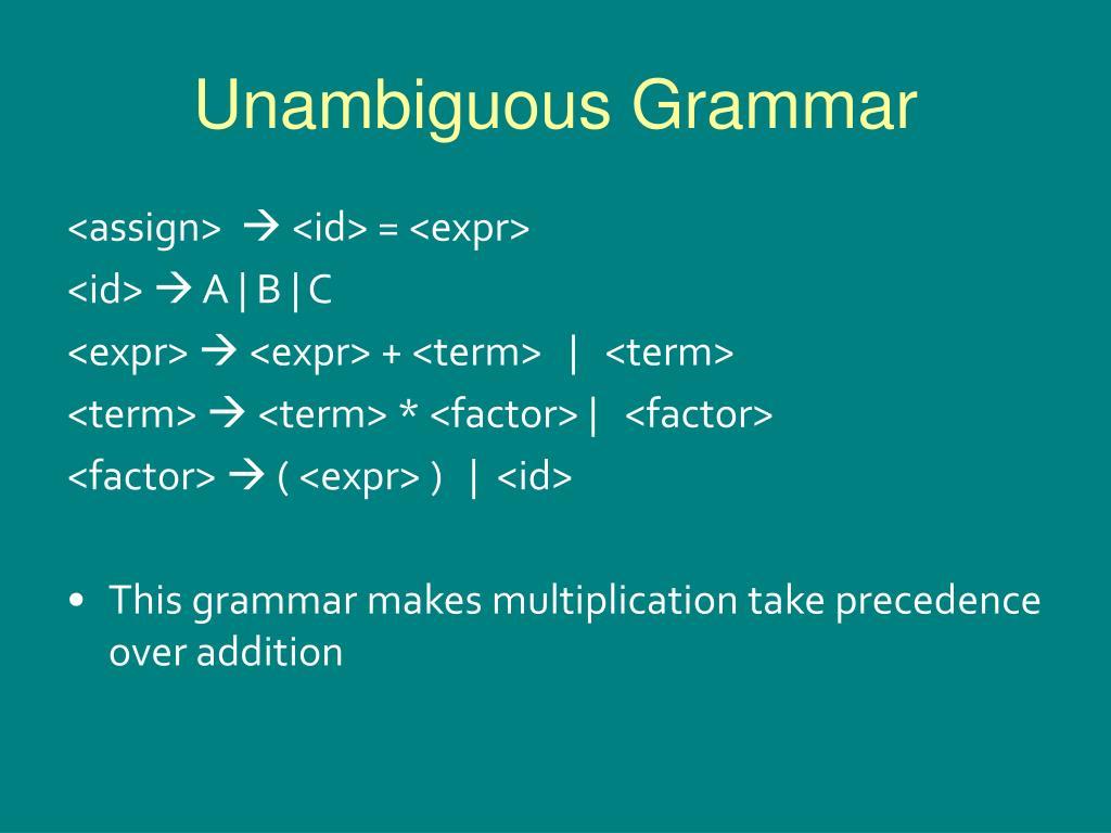Unambiguous Grammar