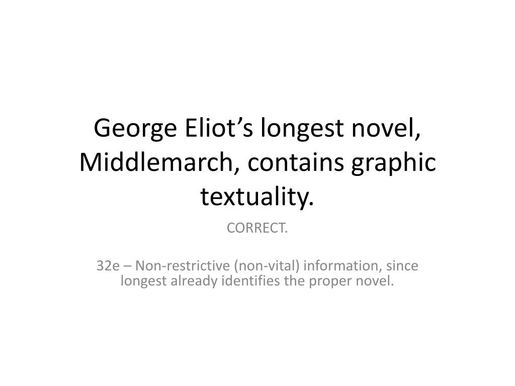 George Eliot's longest novel, Middlemarch, contains graphic textuality.