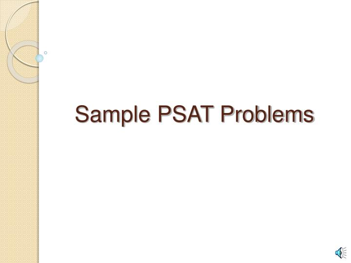 Sample psat problems