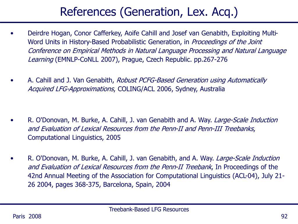 References (Generation, Lex. Acq.)