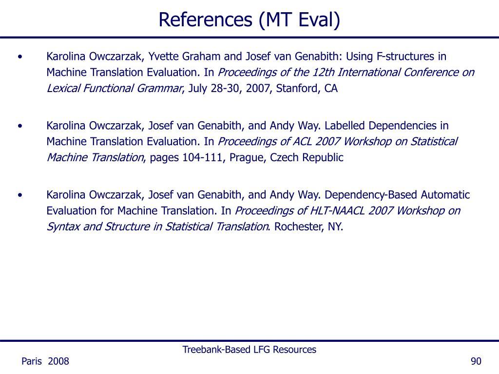 References (MT Eval)