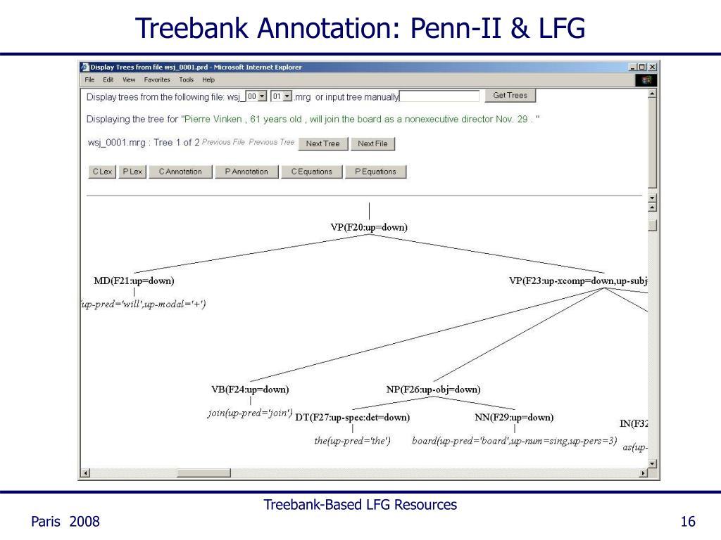 Treebank Annotation: Penn-II & LFG