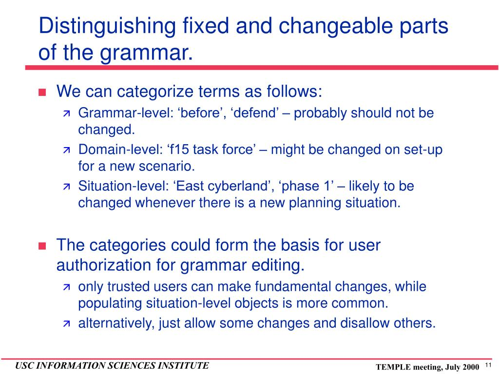 Distinguishing fixed and changeable parts of the grammar.