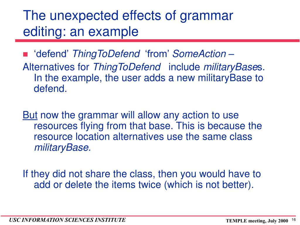 The unexpected effects of grammar editing: an example