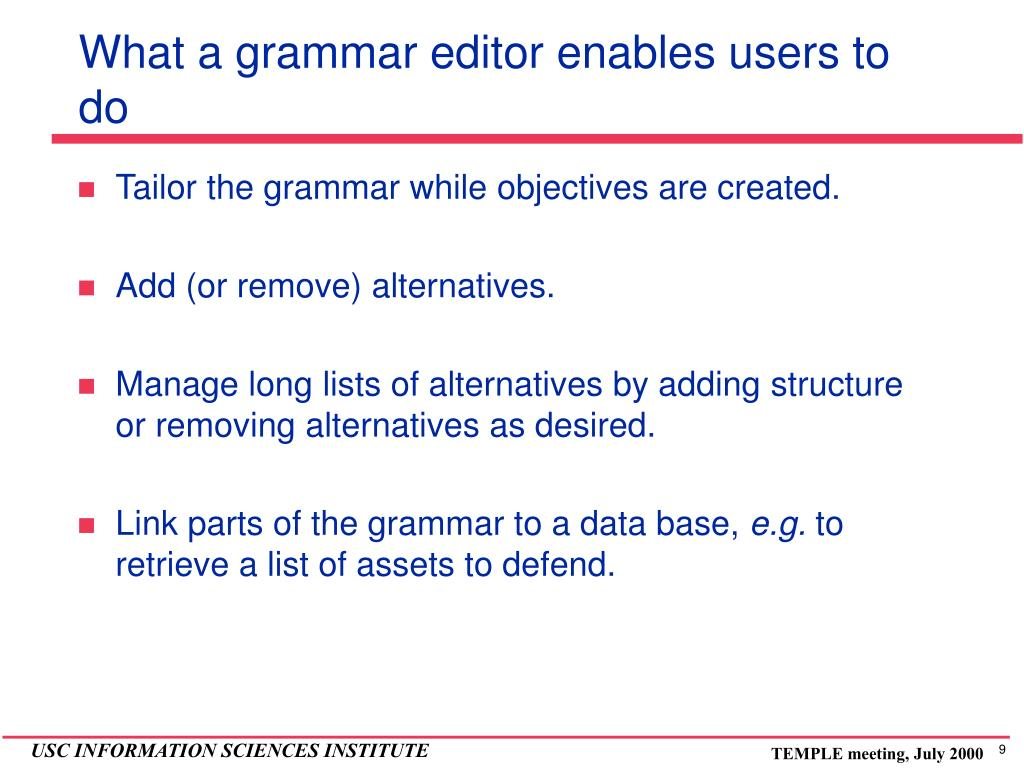 What a grammar editor enables users to do