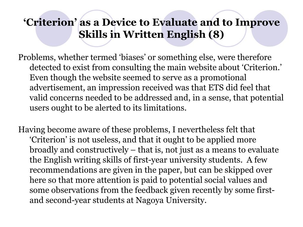 'Criterion' as a Device to Evaluate and to Improve Skills in Written English (8)