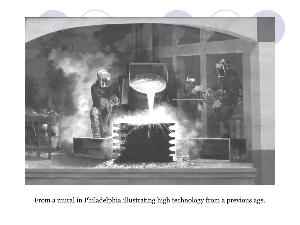 From a mural in Philadelphia illustrating high technology from a previous age.