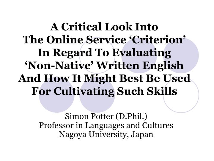 Simon potter d phil professor in languages and cultures nagoya university japan