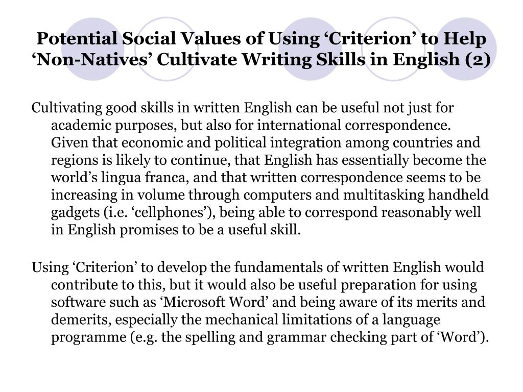 Potential Social Values of Using 'Criterion' to Help 'Non-Natives' Cultivate Writing Skills in English (2)