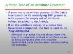 a parse tree of an attribute grammar