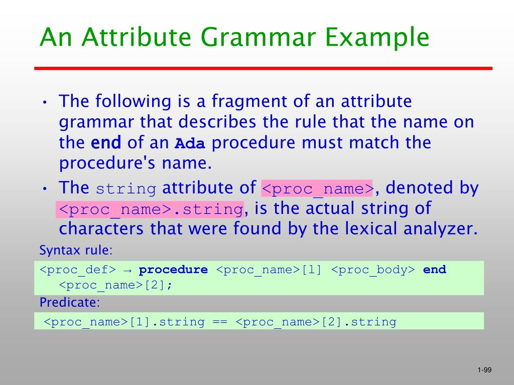 An Attribute Grammar Example
