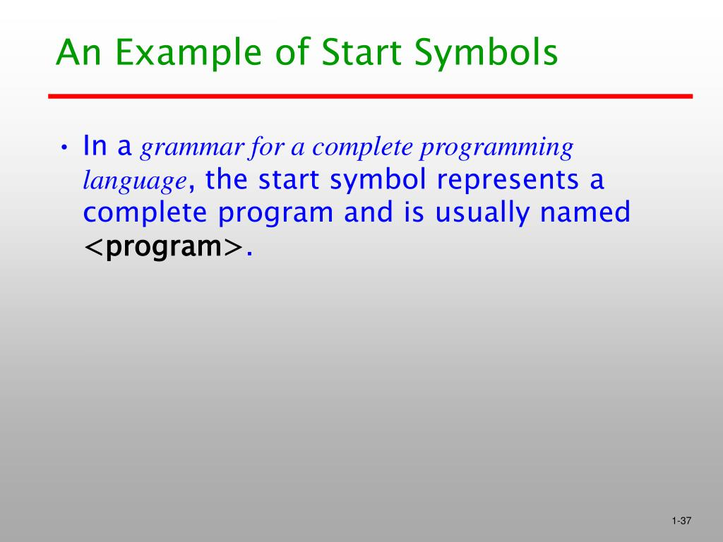 An Example of Start Symbols