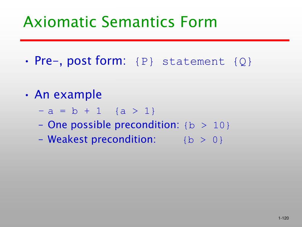 Axiomatic Semantics Form