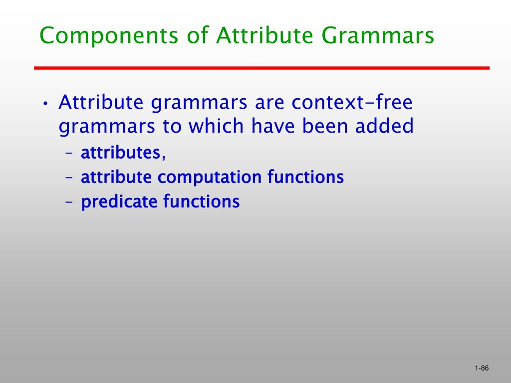 Components of Attribute Grammars