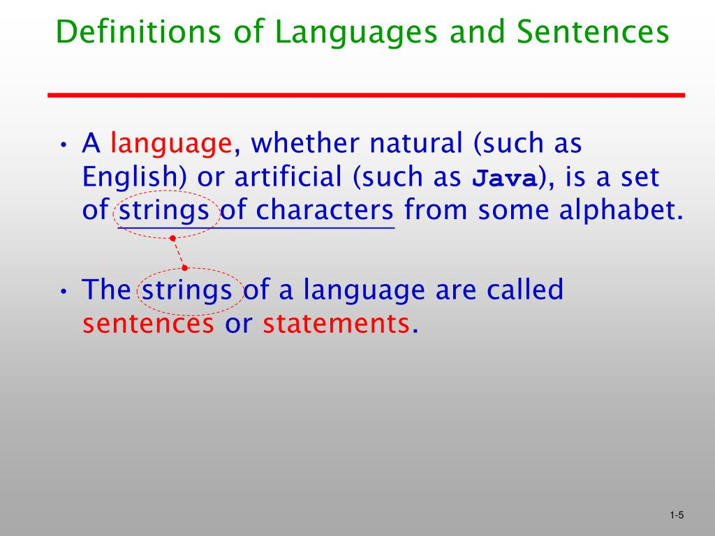 Definitions of Languages and Sentences