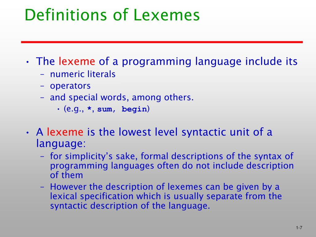 Definitions of Lexemes