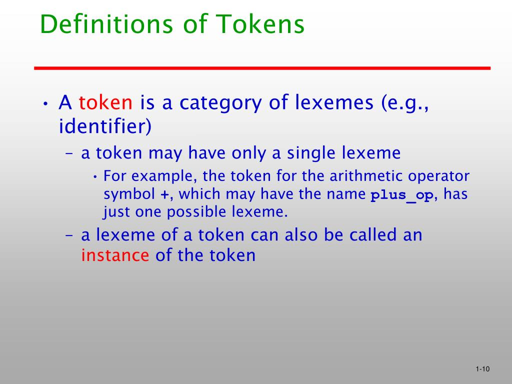 Definitions of Tokens