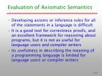 evaluation of axiomatic semantics