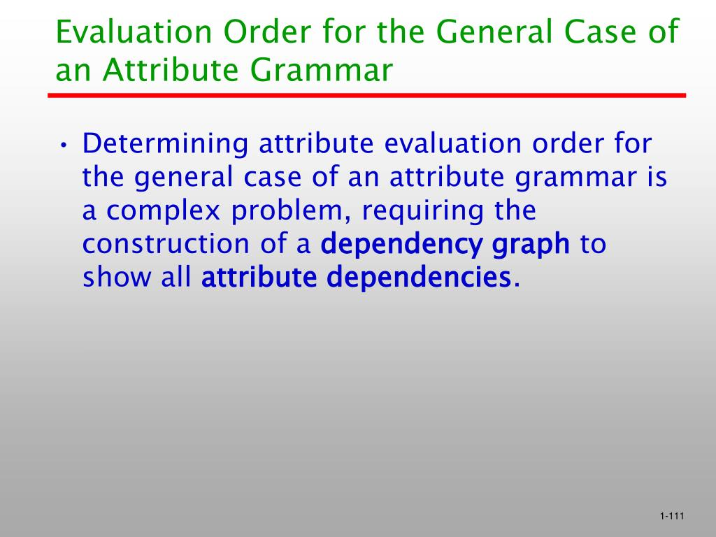 Evaluation Order for the General Case of an Attribute Grammar