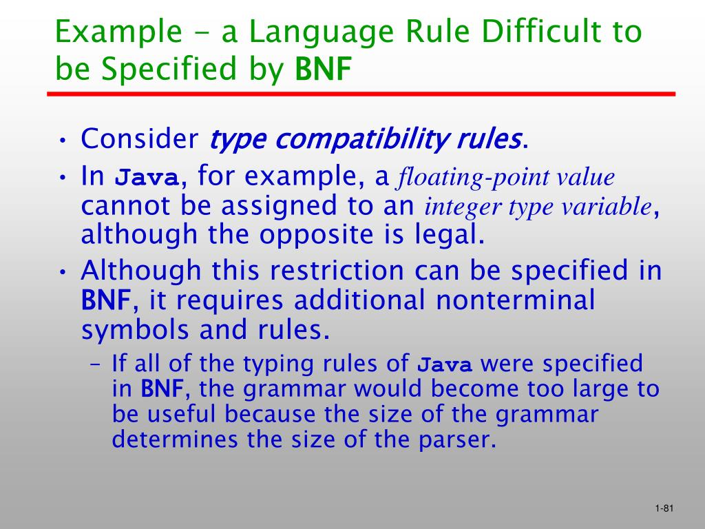 Example - a Language Rule Difficult to be Specified by