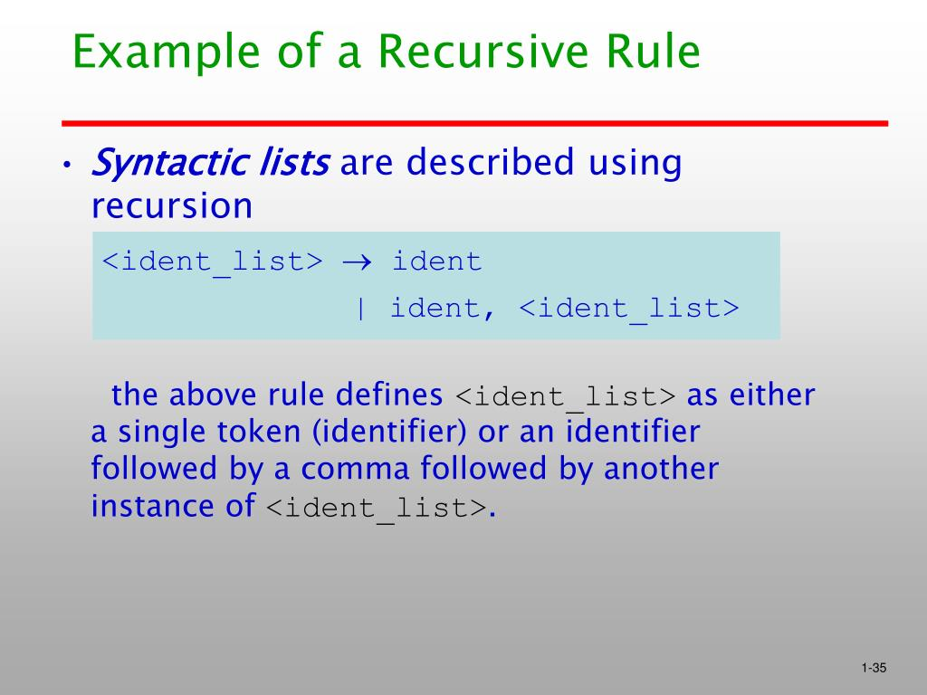 Example of a Recursive Rule