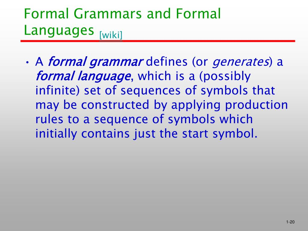 Formal Grammars and Formal Languages