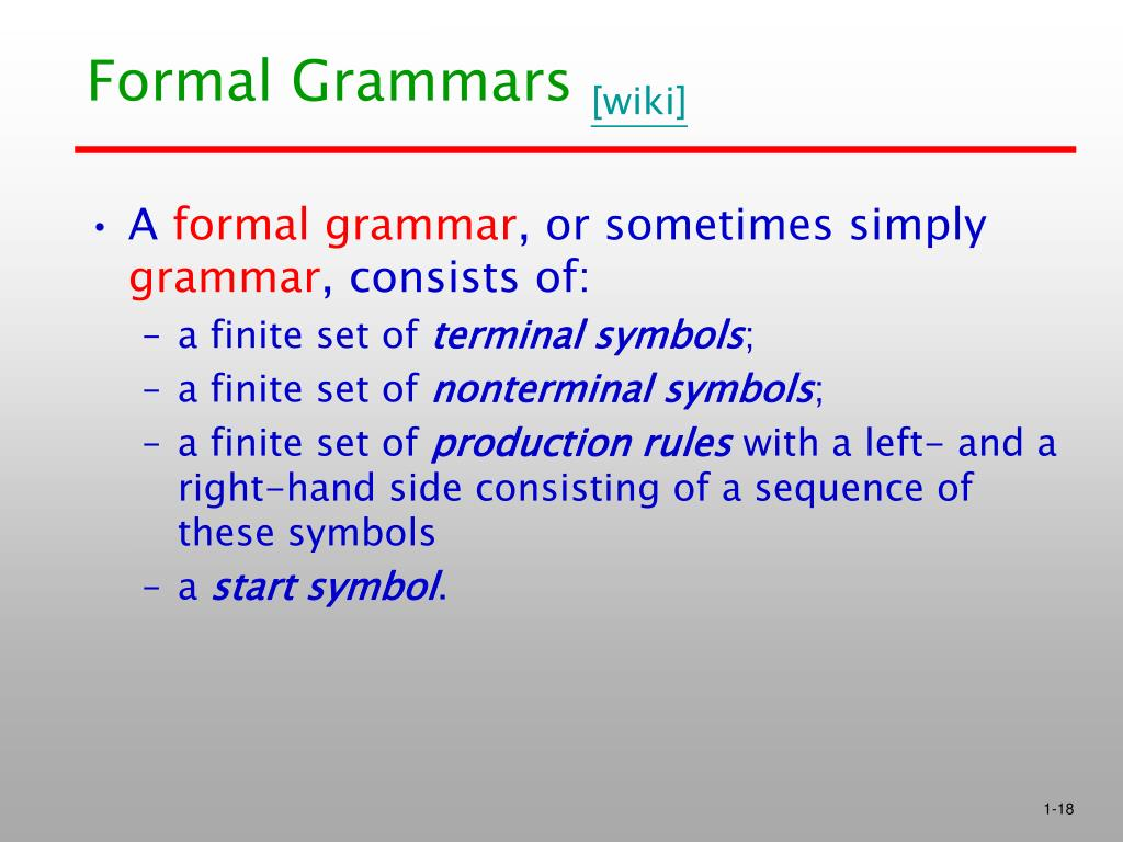 Formal Grammars