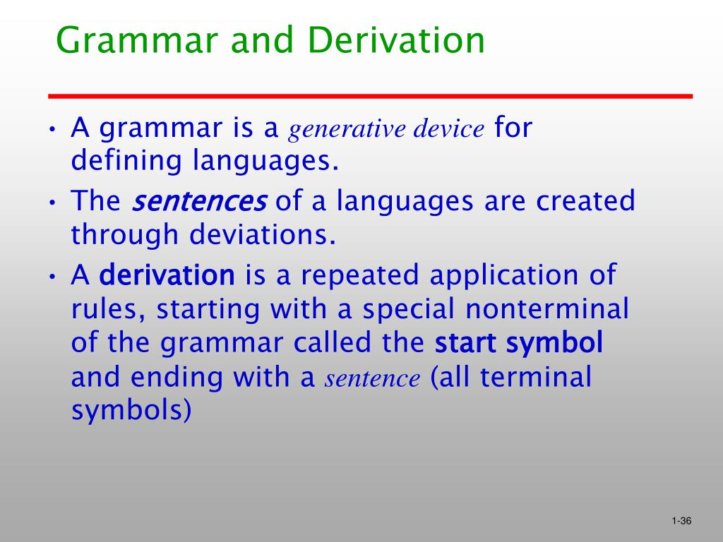 Grammar and Derivation