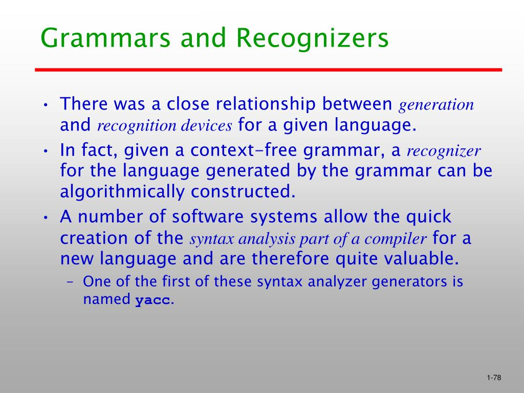 Grammars and Recognizers
